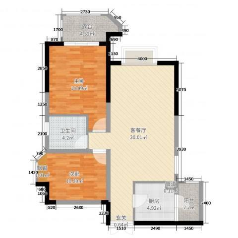 山海天2室2厅1卫1厨87.00㎡户型图