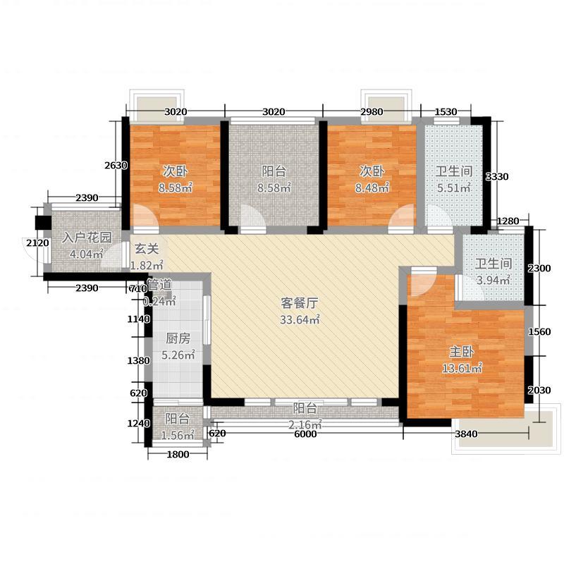 中海金沙水岸125.00㎡10号楼01单元户型4室4厅1卫1厨