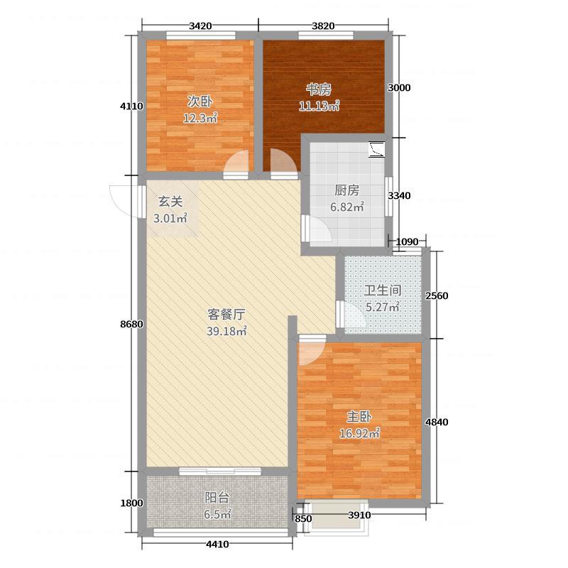和平美景112.64㎡8#标准层A3户型3室3厅1卫1厨