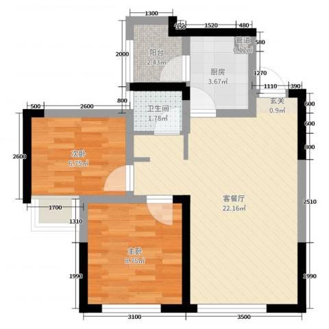 蓝光COCO蜜城2室2厅1卫1厨57.00㎡户型图