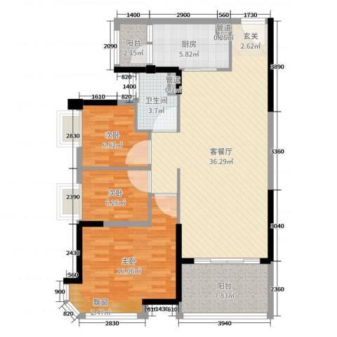 碧桂园翡翠山3室2厅1卫1厨107.00㎡户型图