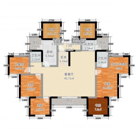 蓝光COCO蜜城4室2厅2卫1厨140.00㎡户型图
