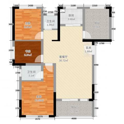 旭辉香樟公馆3室2厅2卫1厨110.00㎡户型图