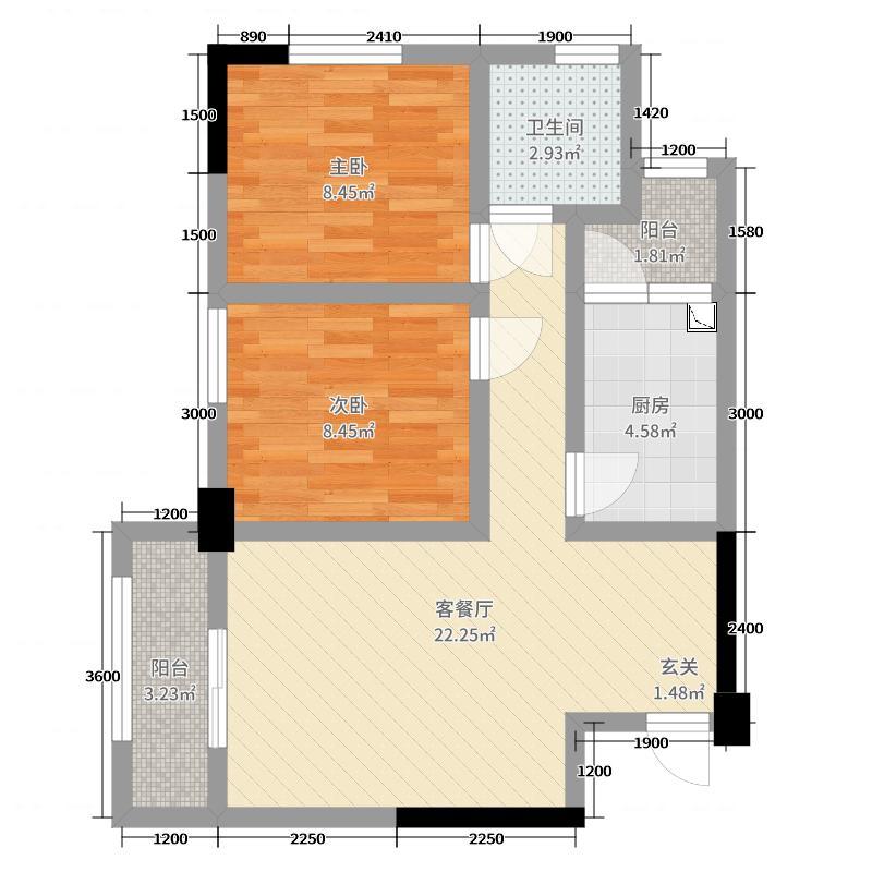 锦尚太康66.00㎡一期1、2、3、4号楼标准层A2户型2室2厅1卫