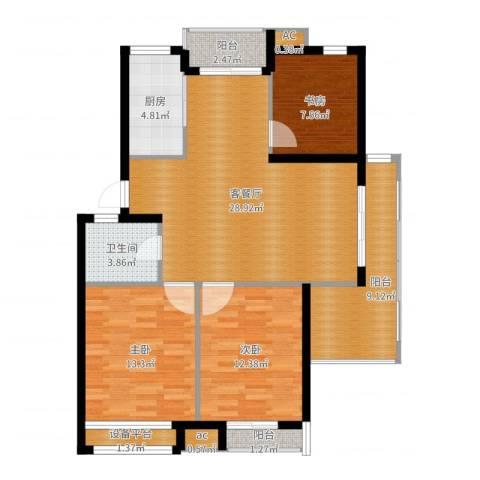 黄山怡园3室2厅1卫1厨108.00㎡户型图