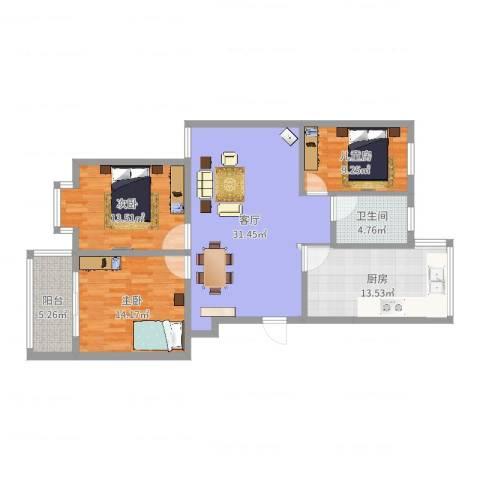 中江国际花苑3室1厅1卫1厨115.00㎡户型图