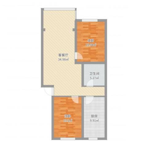梅花苑2室2厅1卫1厨95.00㎡户型图