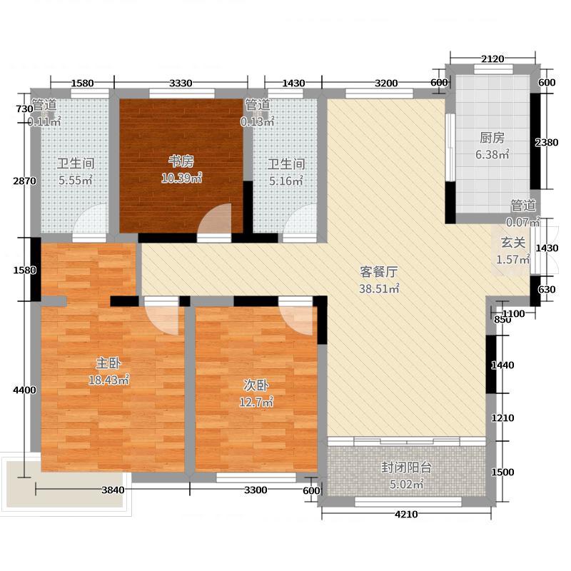 鲁能领秀城128.00㎡4#8#9#号楼C1户型3室3厅2卫1厨