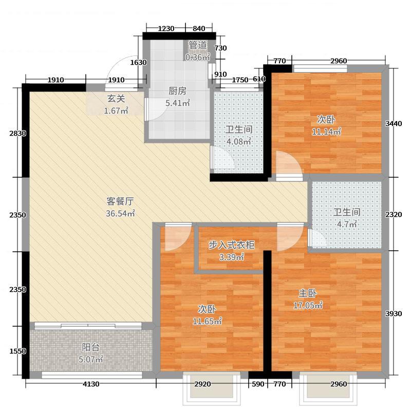 铭城国际社区119.55㎡2#A3户型3室3厅2卫1厨