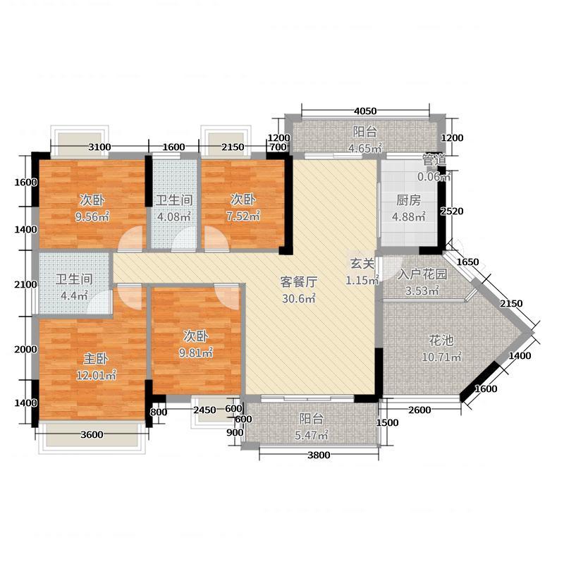 京华假日湾120.99㎡4、6栋0户型4室4厅2卫1厨