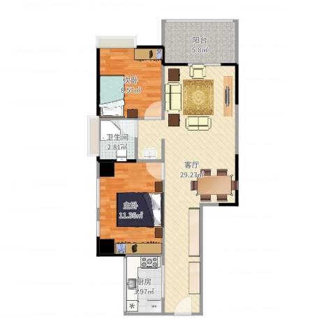 卓达巴哈马三期自由港湾2室1厅1卫1厨77.00㎡户型图
