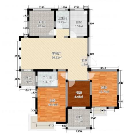 小天鹅品园3室2厅2卫1厨135.00㎡户型图