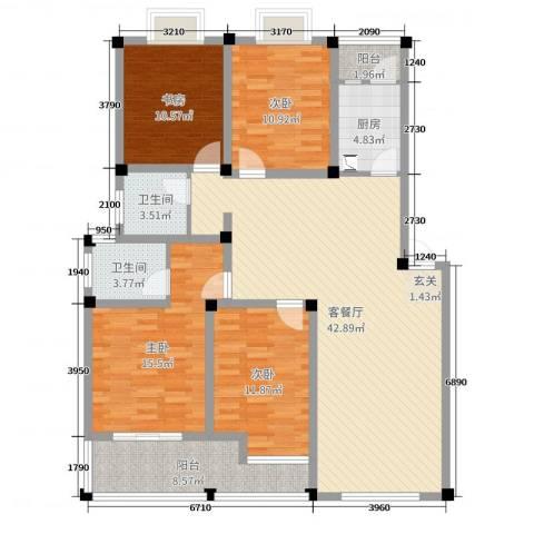 水岸枫情4室2厅2卫1厨143.00㎡户型图