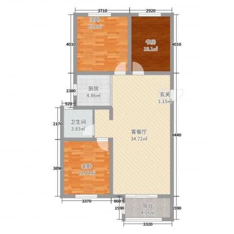 馨视界・花城3室2厅1卫1厨103.00㎡户型图