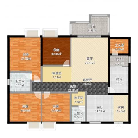 春风绿苑4室2厅2卫1厨195.00㎡户型图