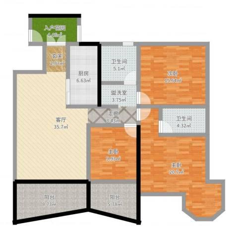 金星小区3室1厅2卫1厨146.00㎡户型图