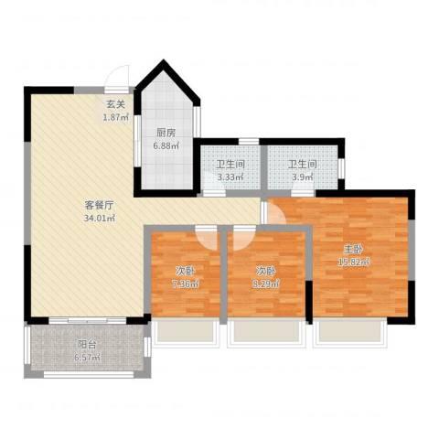 兰乔圣菲3室2厅2卫1厨108.00㎡户型图