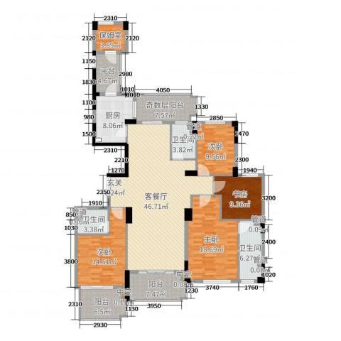 康恒悦麒美寓4室2厅3卫1厨189.00㎡户型图