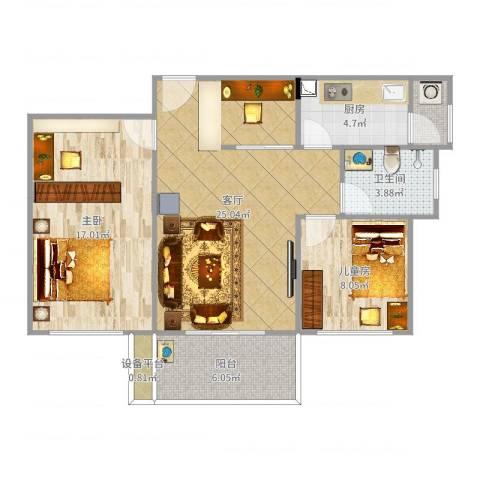 六和城2室1厅1卫1厨84.00㎡户型图