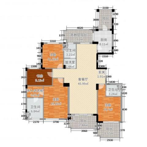 康恒悦麒美寓4室2厅3卫1厨195.00㎡户型图