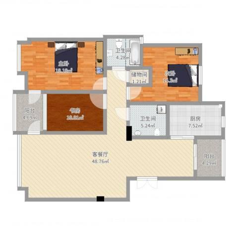 华夏海景3室2厅2卫1厨118.48㎡户型图