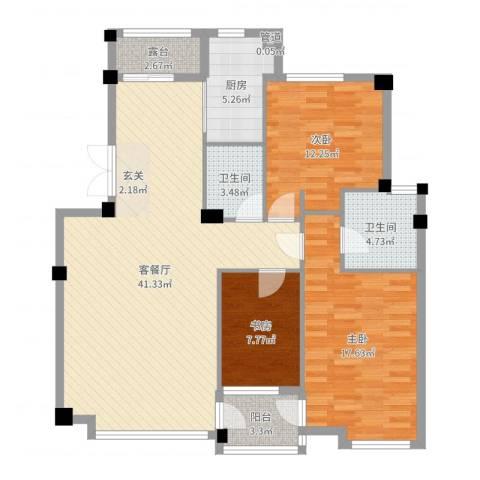 华夏海景3室2厅2卫1厨98.47㎡户型图