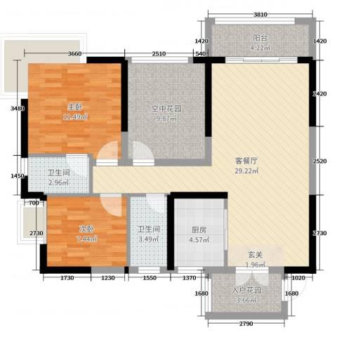 凯旋名门花园2室2厅2卫1厨91.00㎡户型图
