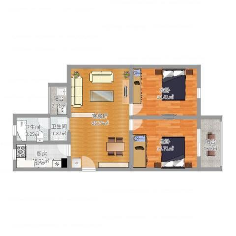 鑫龙佳苑2室2厅2卫1厨87.00㎡户型图