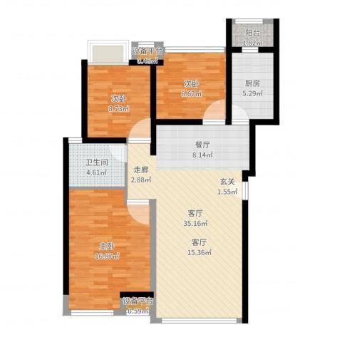 卓信龙岭3室1厅2卫2厨103.00㎡户型图