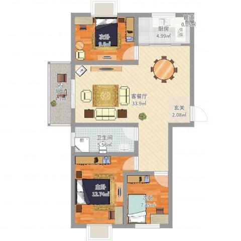 瑞祥花园3室2厅1卫1厨99.00㎡户型图