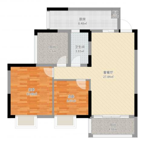 泰禾・江山美地2室2厅1卫1厨93.00㎡户型图