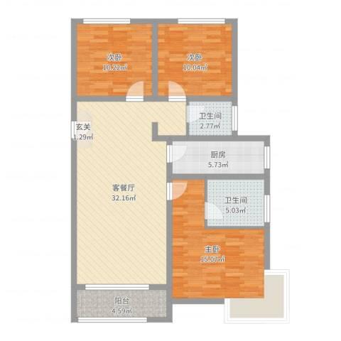 高科麓湾国际社区3室2厅2卫1厨107.00㎡户型图