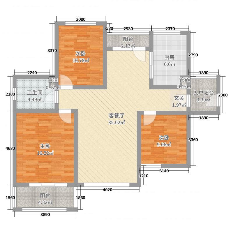 �X海逸景湾116.00㎡北区高层11#12#13#E5户型3室3厅1卫1厨