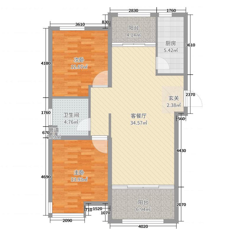 华明星海湾103.00㎡B户型2室2厅1卫1厨