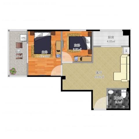 元丰怡家2室1厅1卫1厨64.00㎡户型图