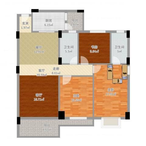丽港豪园3室1厅2卫1厨136.00㎡户型图