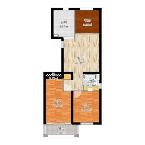 凯旋公寓3室1厅1卫1厨115.00㎡户型图