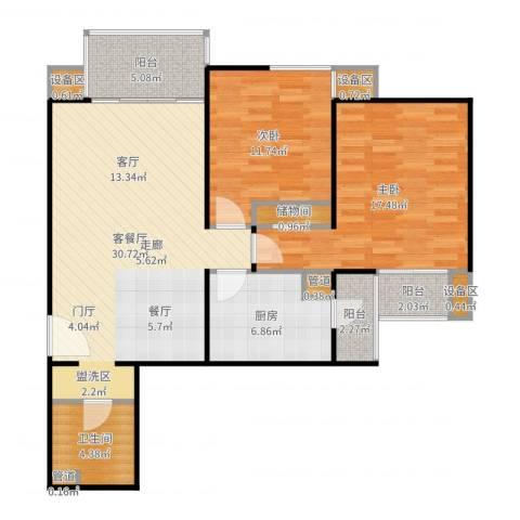东润枫景2室2厅1卫1厨105.00㎡户型图