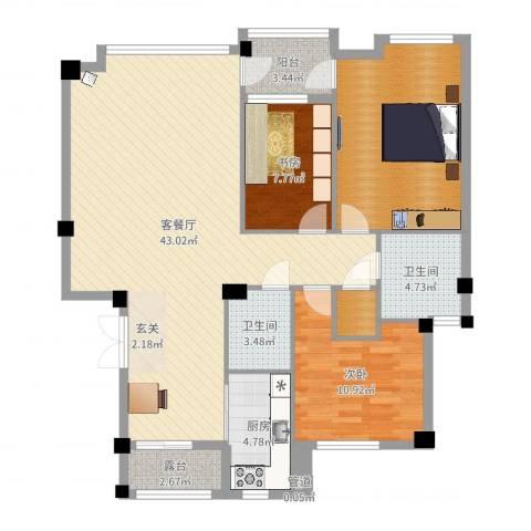 华夏海景2室2厅2卫1厨98.06㎡户型图