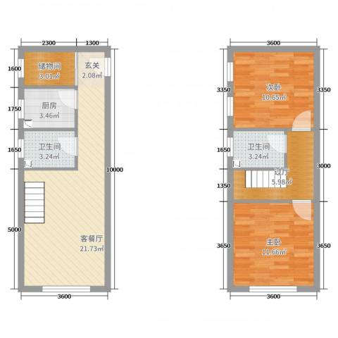 法兰之香2室2厅2卫1厨62.97㎡户型图