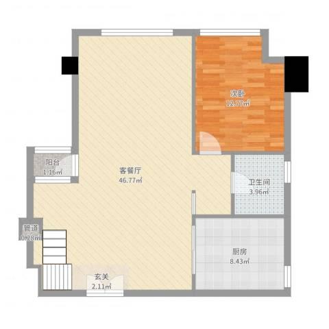 坦洲皇爵盈富国际1室2厅1卫1厨92.00㎡户型图