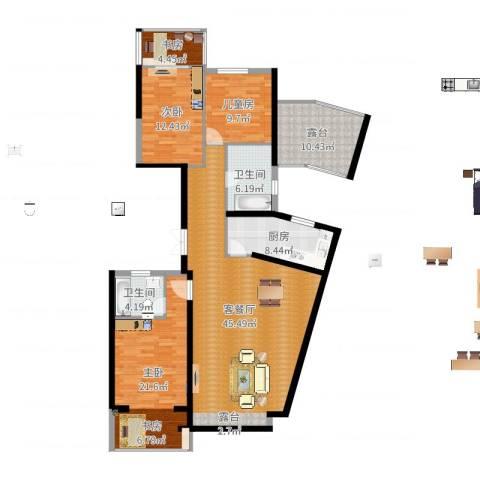 湖畔现代城4室2厅2卫1厨154.00㎡户型图