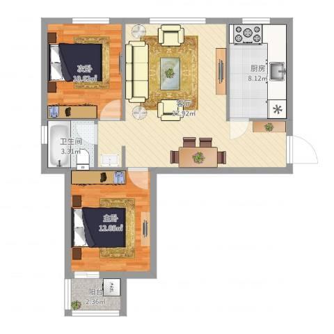 银珠明园2室1厅1卫1厨80.00㎡户型图