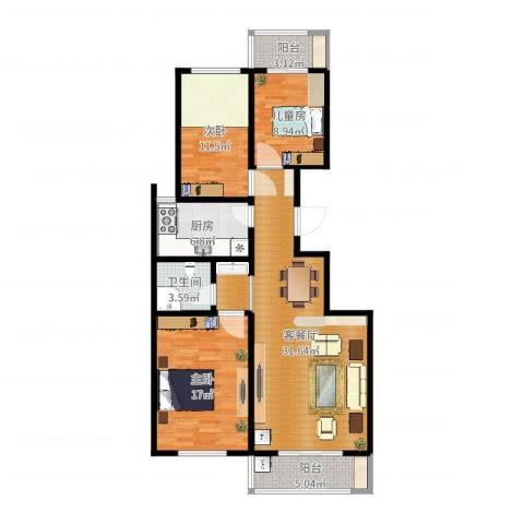绥德县金阳光小区三室两厅一卫3室2厅1卫1厨112.00㎡户型图