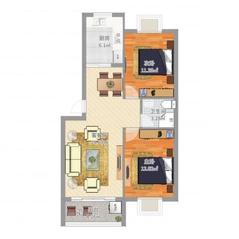 井亭家园2室2厅1卫1厨77.00㎡户型图