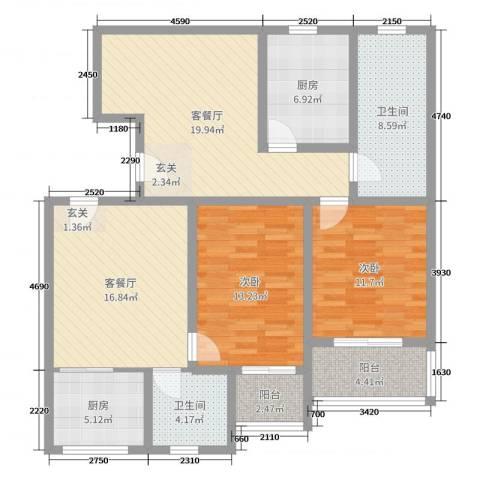 藏龙镇2室4厅2卫2厨117.00㎡户型图