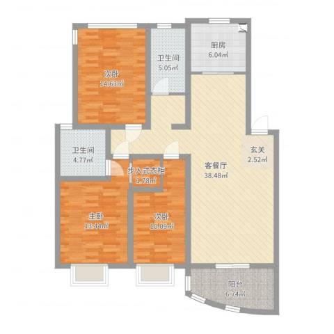 苏都花园3室2厅2卫1厨126.00㎡户型图