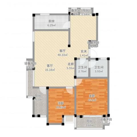 美达浅草明苑2室1厅2卫1厨114.00㎡户型图