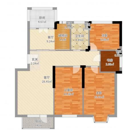 四季花苑二期绿地景城4室2厅1卫1厨114.00㎡户型图