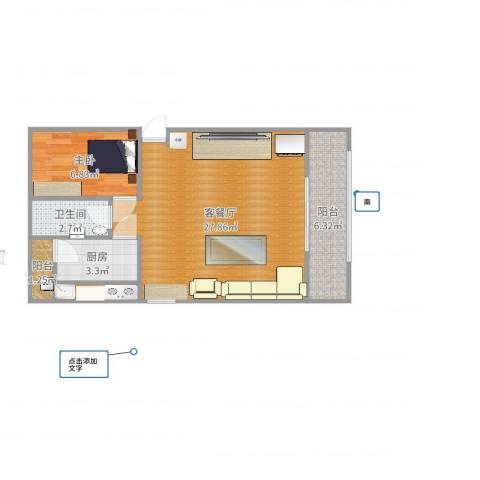 三合北里1室2厅1卫1厨62.00㎡户型图